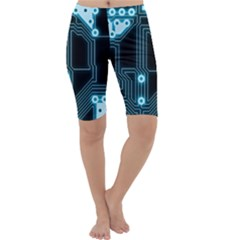 A Completely Seamless Background Design Circuitry Cropped Leggings