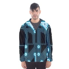 A Completely Seamless Background Design Circuitry Hooded Wind Breaker (men)