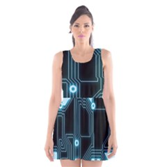 A Completely Seamless Background Design Circuitry Scoop Neck Skater Dress