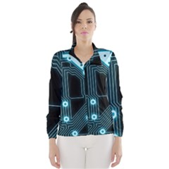 A Completely Seamless Background Design Circuitry Wind Breaker (women)