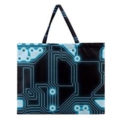 A Completely Seamless Background Design Circuitry Zipper Large Tote Bag