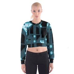 A Completely Seamless Background Design Circuitry Women s Cropped Sweatshirt