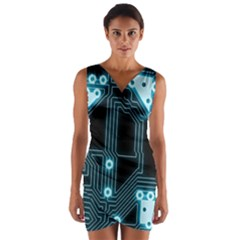 A Completely Seamless Background Design Circuitry Wrap Front Bodycon Dress