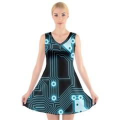 A Completely Seamless Background Design Circuitry V Neck Sleeveless Skater Dress