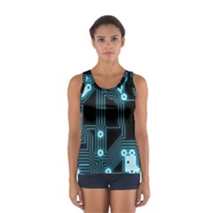 A Completely Seamless Background Design Circuitry Women s Sport Tank Top