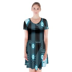 A Completely Seamless Background Design Circuitry Short Sleeve V Neck Flare Dress