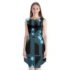 A Completely Seamless Background Design Circuitry Sleeveless Chiffon Dress