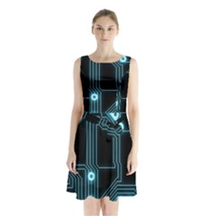 A Completely Seamless Background Design Circuitry Sleeveless Chiffon Waist Tie Dress