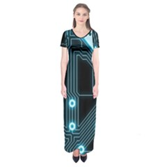 A Completely Seamless Background Design Circuitry Short Sleeve Maxi Dress