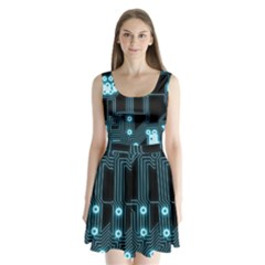 A Completely Seamless Background Design Circuitry Split Back Mini Dress