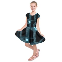 A Completely Seamless Background Design Circuitry Kids  Short Sleeve Dress