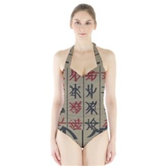 Ancient Chinese Secrets Characters Halter Swimsuit