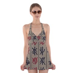 Ancient Chinese Secrets Characters Halter Swimsuit Dress