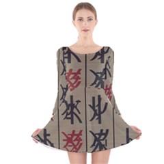 Ancient Chinese Secrets Characters Long Sleeve Velvet Skater Dress
