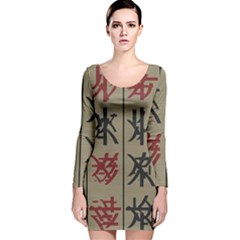 Ancient Chinese Secrets Characters Long Sleeve Velvet Bodycon Dress