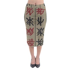 Ancient Chinese Secrets Characters Midi Pencil Skirt