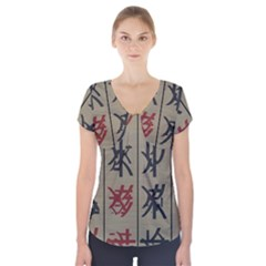 Ancient Chinese Secrets Characters Short Sleeve Front Detail Top
