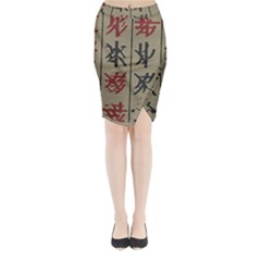 Ancient Chinese Secrets Characters Midi Wrap Pencil Skirt