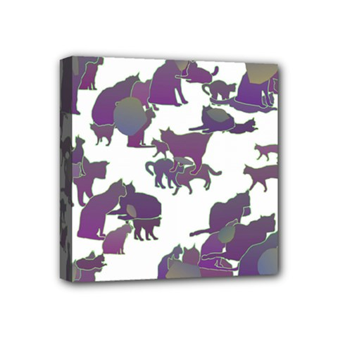 Many Cats Silhouettes Texture Mini Canvas 4  X 4