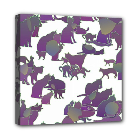 Many Cats Silhouettes Texture Mini Canvas 8  X 8