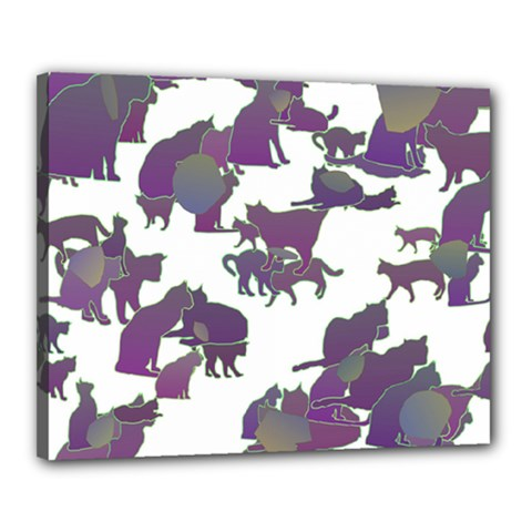 Many Cats Silhouettes Texture Canvas 20  X 16