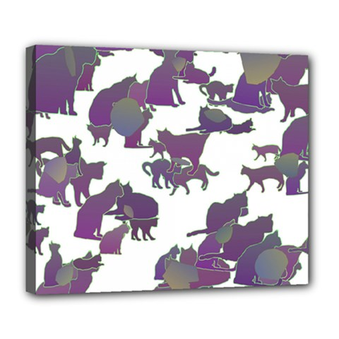 Many Cats Silhouettes Texture Deluxe Canvas 24  X 20