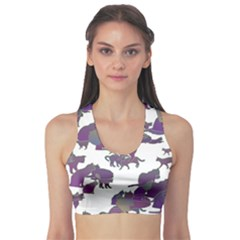 Many Cats Silhouettes Texture Sports Bra