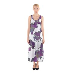 Many Cats Silhouettes Texture Sleeveless Maxi Dress