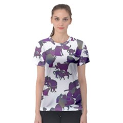Many Cats Silhouettes Texture Women s Sport Mesh Tee