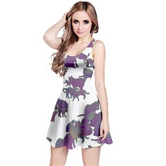 Many Cats Silhouettes Texture Reversible Sleeveless Dress