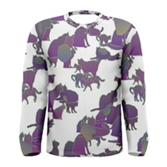 Many Cats Silhouettes Texture Men s Long Sleeve Tee