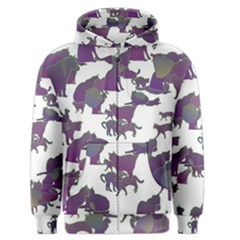 Many Cats Silhouettes Texture Men s Zipper Hoodie