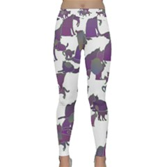 Many Cats Silhouettes Texture Classic Yoga Leggings