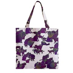 Many Cats Silhouettes Texture Zipper Grocery Tote Bag