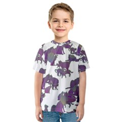 Many Cats Silhouettes Texture Kids  Sport Mesh Tee
