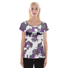 Many Cats Silhouettes Texture Women s Cap Sleeve Top