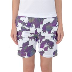 Many Cats Silhouettes Texture Women s Basketball Shorts