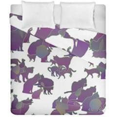 Many Cats Silhouettes Texture Duvet Cover Double Side (california King Size)