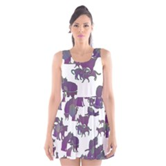 Many Cats Silhouettes Texture Scoop Neck Skater Dress
