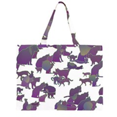 Many Cats Silhouettes Texture Zipper Large Tote Bag