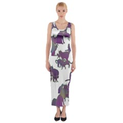 Many Cats Silhouettes Texture Fitted Maxi Dress