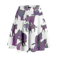Many Cats Silhouettes Texture High Waist Skirt
