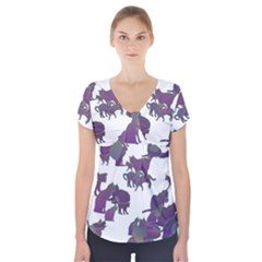 Many Cats Silhouettes Texture Short Sleeve Front Detail Top