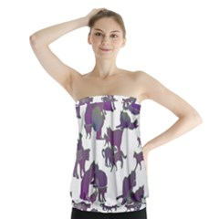 Many Cats Silhouettes Texture Strapless Top
