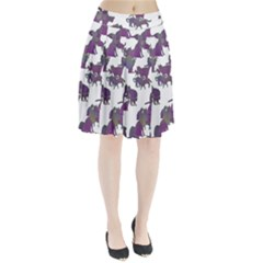 Many Cats Silhouettes Texture Pleated Skirt