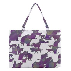 Many Cats Silhouettes Texture Medium Tote Bag