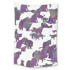 Many Cats Silhouettes Texture Large Tapestry