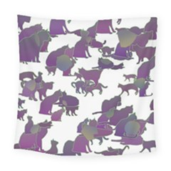 Many Cats Silhouettes Texture Square Tapestry (large)