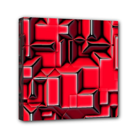 Background With Red Texture Blocks Mini Canvas 6  X 6