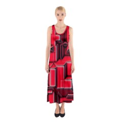 Background With Red Texture Blocks Sleeveless Maxi Dress
